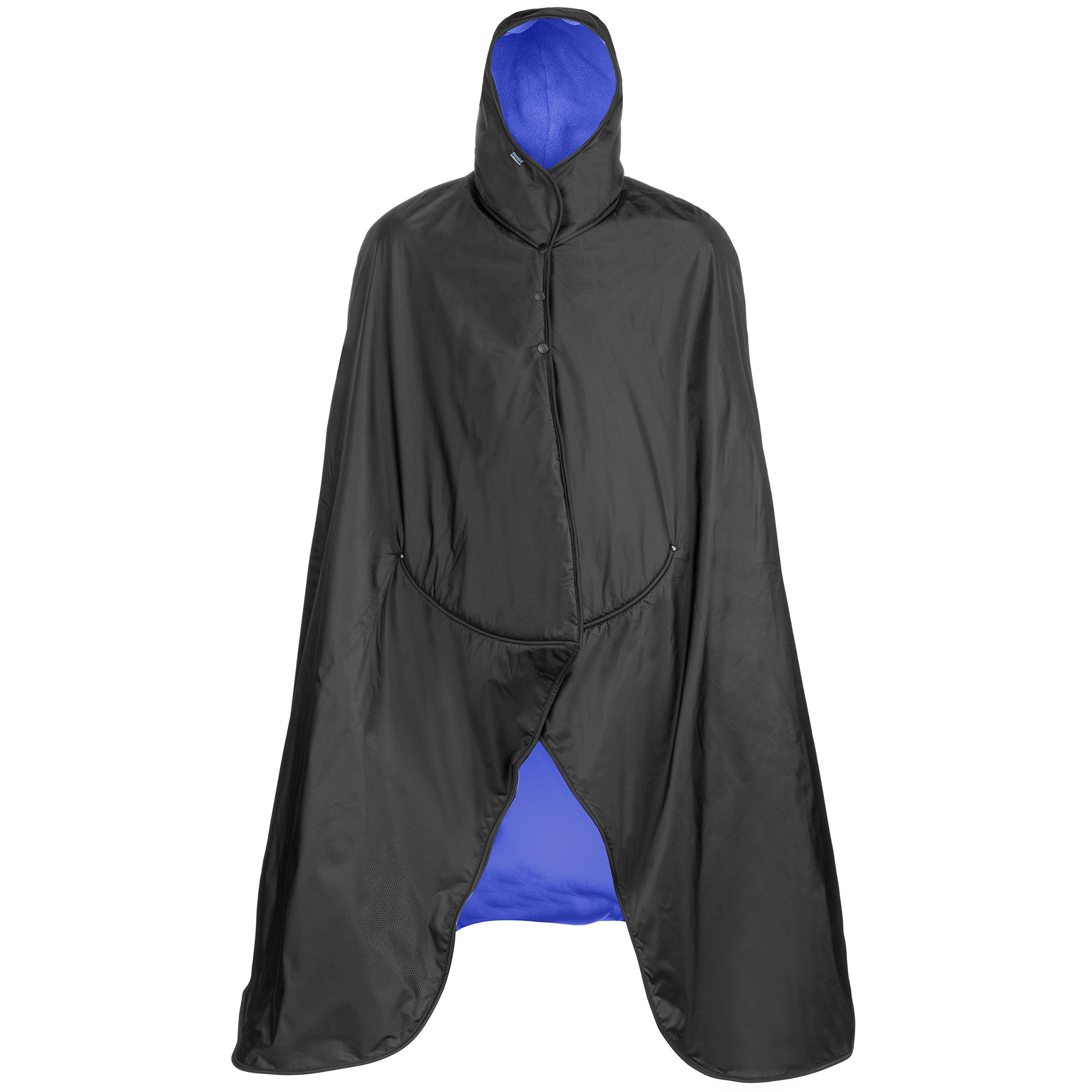 Mambe Extreme Weather 100% Waterproof/Windproof Hooded Blanket with Premium Stuff Sack (Size: Large, Black-Royal) Made in The USA by Mambe