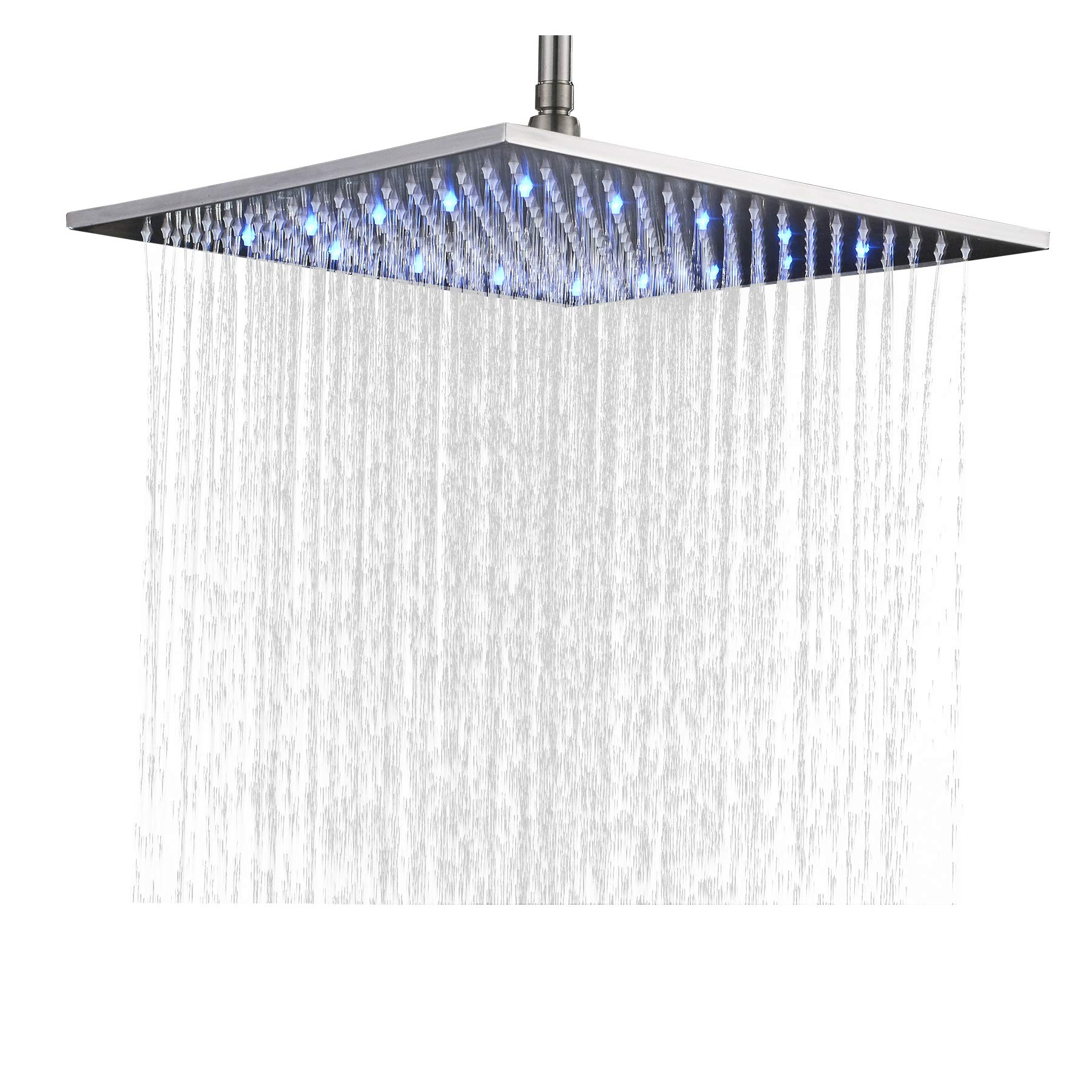 Rozin Bathroom Replacement LED Changing Color 16-inch Square Rainfall Shower Head Overhead Sprayer Brushed Nickel