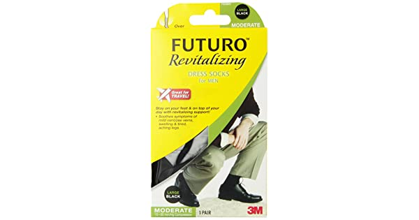 4d81e20c4a01 comFuturo Revitalizing Dress Socks for Men, Moderate Compression, Over the  Calf, Large, Black | Amazon