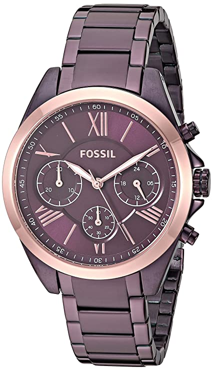 Amazon.com: Fossil Womens Modern Courier Quartz Stainless Steel Chronograph Watch, Color: Rose Gold (Model: BQ3377): Watches