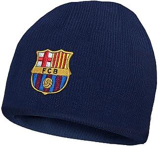 FC Barcelone officiel - Bonnet en tricot thème football - avec blason - Bonnet bleu marine FC Barcelona