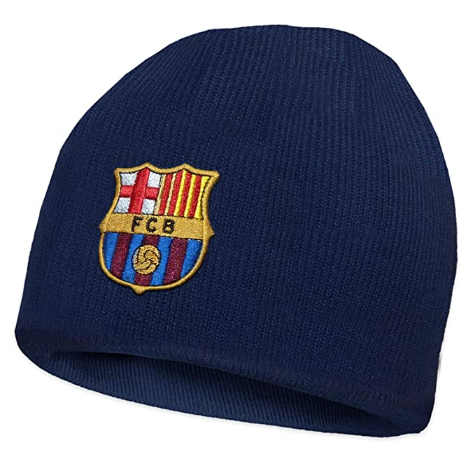 bf8371ea1d5 FC Barcelona Official Football Gift Kids Knitted Bronx Beanie Hat Crest