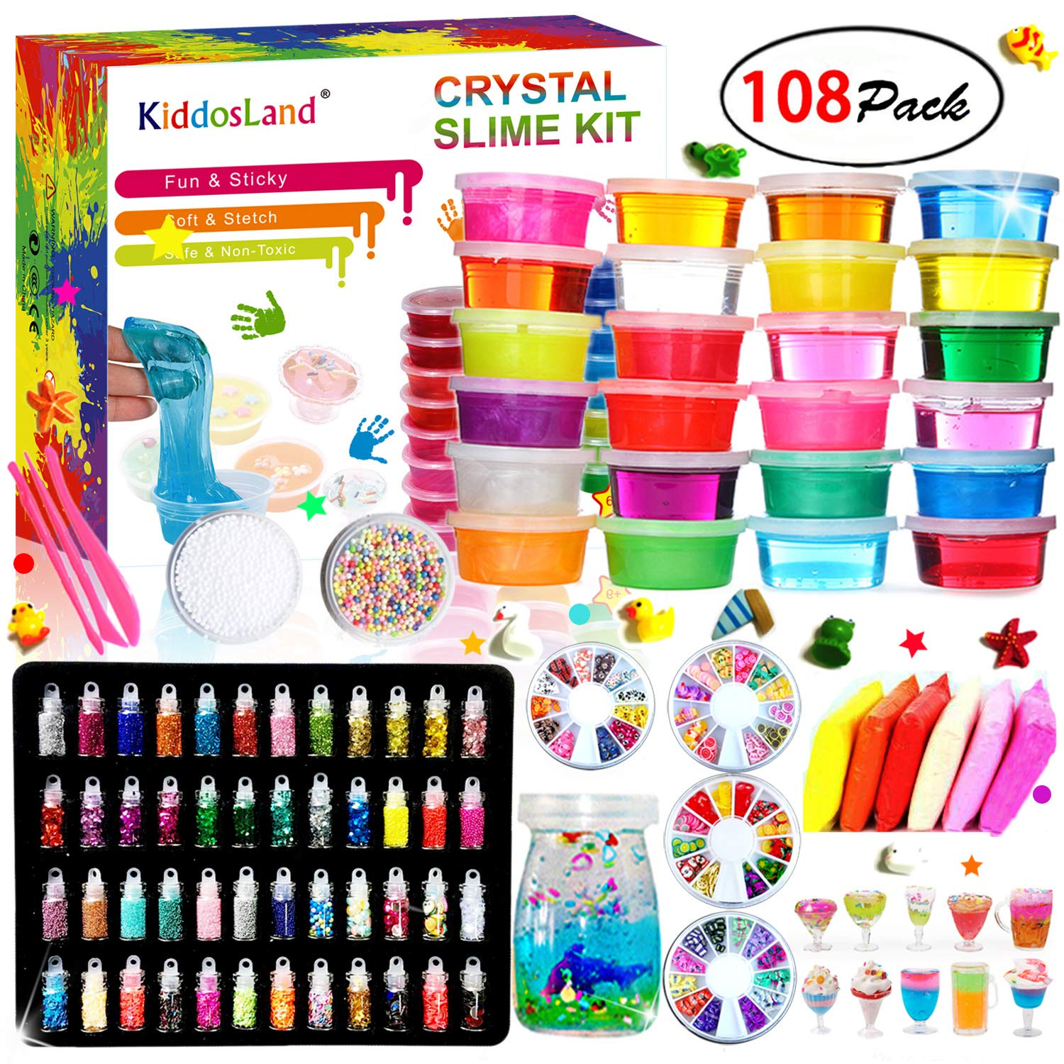 DIY Crystal Slime Kit - Slime kits for Girls Boys Toys with 48 Glitter Powder,Clear Slime Supplies for Kids Art Craft,Includes Air Dry Clay, Fruit Slice and Tools,Squeeze Stress Relief Toy (24 Colors) by Kiddosland