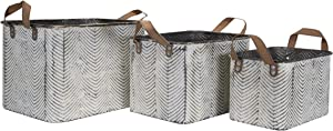 Foreside Home & Garden Rustic Set of 3 Whitewashed Pattern Galvanized Metal Decorative Storage Bins with Faux Leather Handles