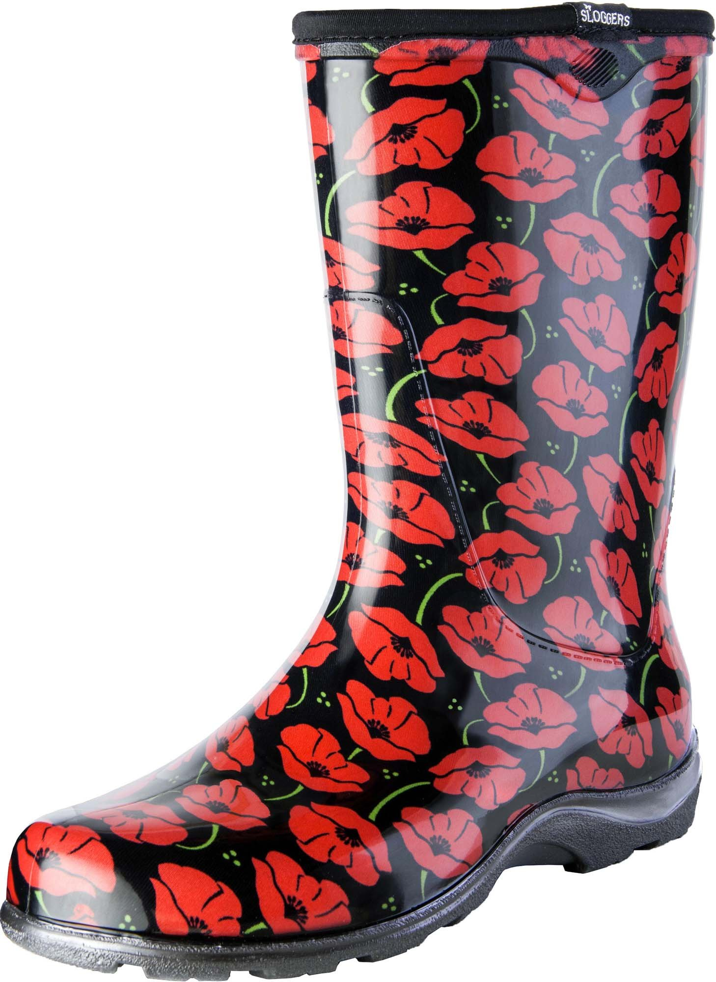 Sloggers Women's Waterproof Rain and Garden Boot with Comfort Insole, Poppy Red, Size 8, Style 5016POR08
