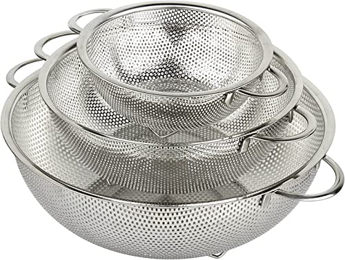 HÖLM 3-Piece Stainless Steel Mesh Micro-Perforated Strainer Colander Set