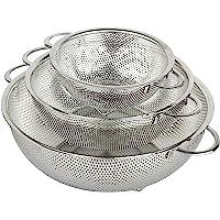 HÖLM - Juego de coladores de malla de acero inoxidable microperforada de 3 piezas (1 2,5 y 4,5 litros) - Escurridor de…