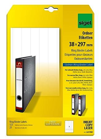 Sigel LA440 - Etiquetas para carpetas archivadoras tamaño A4 97 x 38 mm - 25 hojas: Amazon.es: Oficina y papelería
