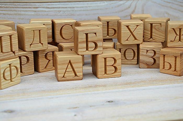 Amazon Com 33 Russian Alphabet Wood Blocks Abc Wood Block