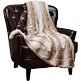 "Chanasya Super Soft Fuzzy Fur Elegant Faux Fur Falling Leaf Pattern With Fluffy Plush Sherpa Cozy Warm Brown Throw Blanket (60"" x 70"") - Brown and White"