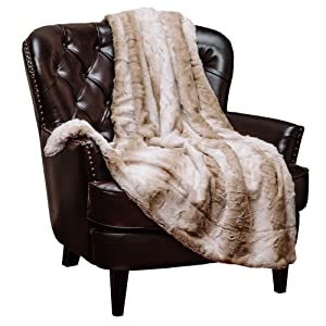 Chanasya Super Soft Fuzzy Fur Elegant Throw Blanket   Faux Fur Falling Leaf Pattern with Fluffy Plush Sherpa Cozy Warm Brown Microfiber Blanket for Bed Couch Living Bed Room - Coffee and White