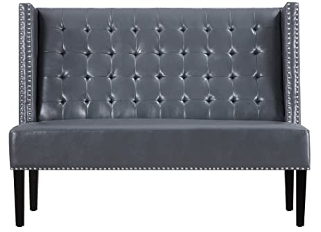 TOV Furniture The Halifax Collection Modern Leather Upholstered Tufted  Banquette Dining Bench, Gray