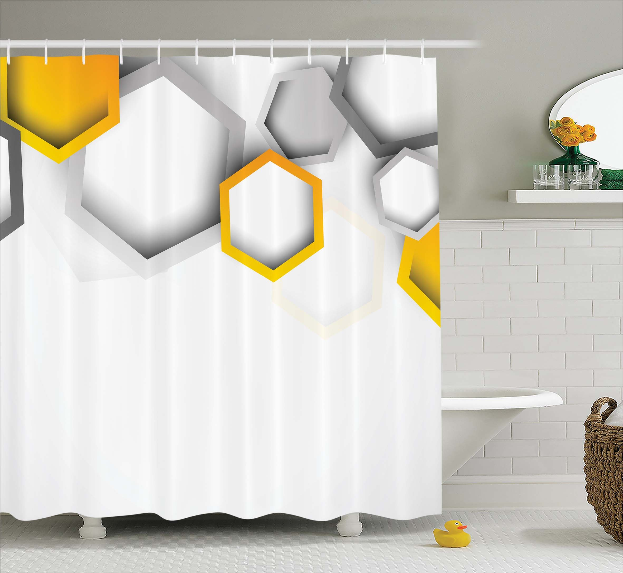 Ambesonne Abstract Decor Shower Curtain by, Geometric Hexagon Beeswax Shaped Modern Cool Artistic Artwork, Fabric Bathroom Decor Set with Hooks, 84 Inches Extra Long, Grey Yellow and White