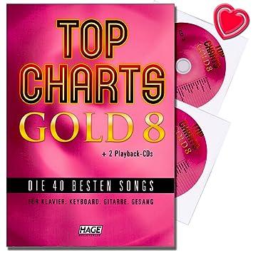 Top Charts Gold 8 - las 40 mejores canciones para piano, teclado, guitarra y voz - Songbook con 2 CDs y con Bunter herzförmiger Ordenador Pinza: Amazon.es: ...
