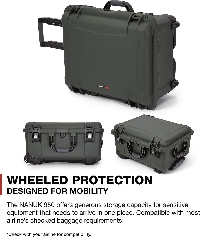 Black Nanuk 938 Waterproof Hard Case with Wheels and Foam Insert 938-1001