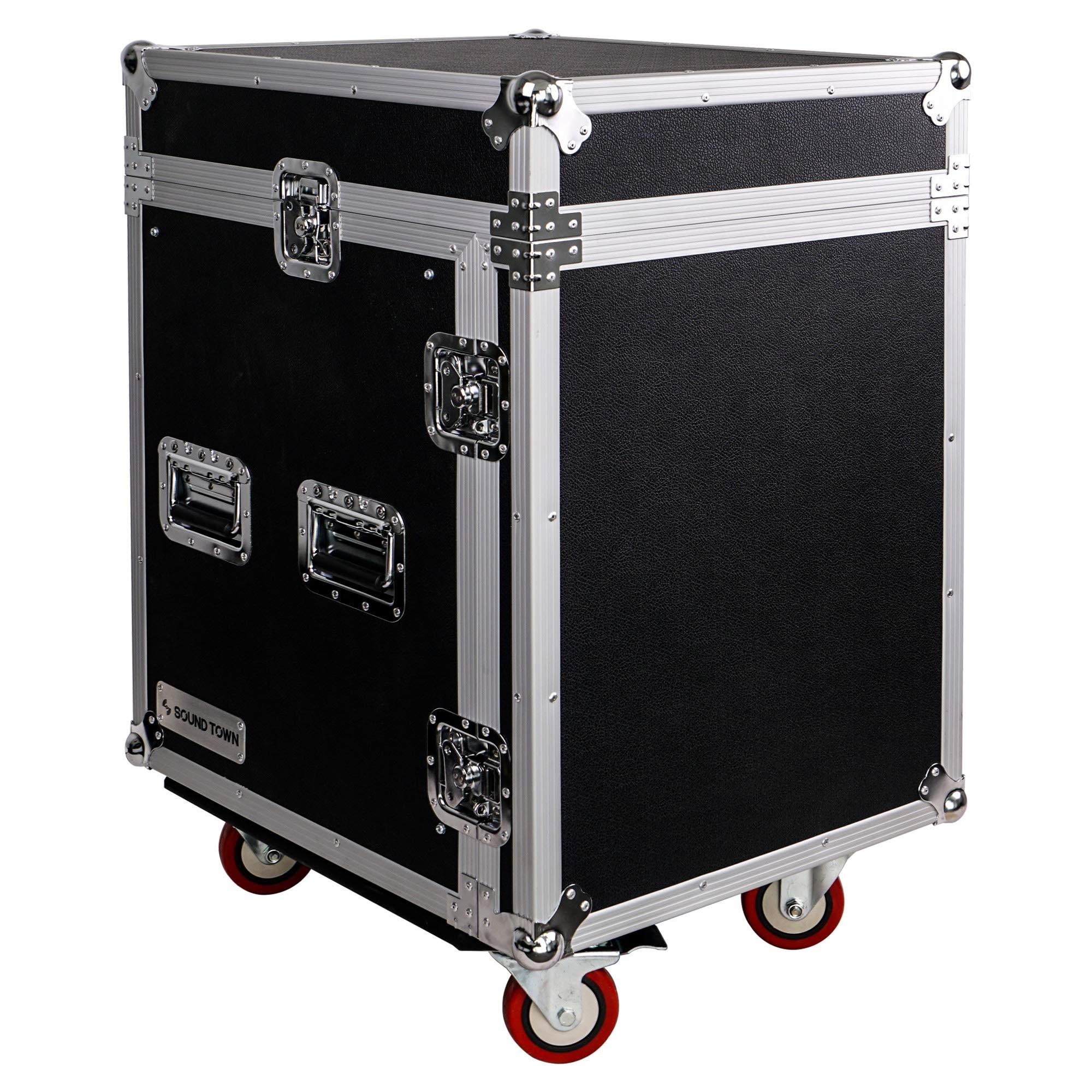 Sound Town 12-Space PA/DJ Pro Audio Rack/Road Case with Slant Mixer Top (STMR-12UW)
