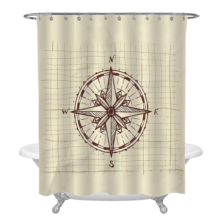 Amazon MitoVilla Vintage Nautical Theme Bathroom Decor Hand Drawn Sketch Compass Shower Curtain Brown 72x72 Home Kitchen