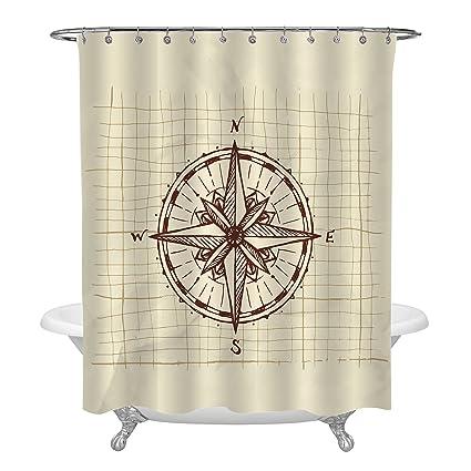 MitoVilla Vintage Nautical Theme Bathroom Decor Hand Drawn Sketch Compass Shower Curtain Brown 72x72