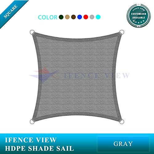 Ifenceview 7 x7 -7 x24 Rectangle UV Blocking Sun Shade Sail Canopy Awning for Patio Yard Garden Driveway Outdoor Facility 7 x 7 , Grey
