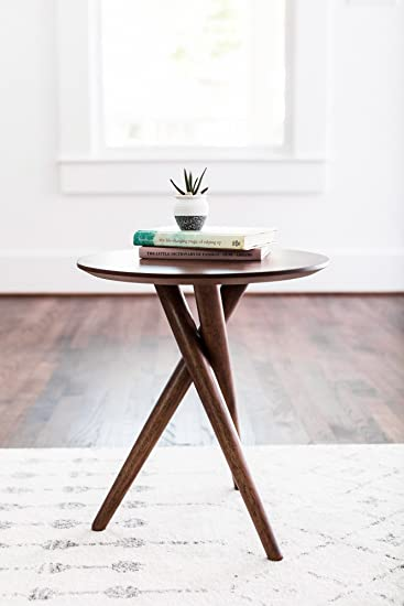 EDLOE FINCH - Gus Small End Table for Living Room - Mid Century Modern End  Table - Round - Walnut Wood