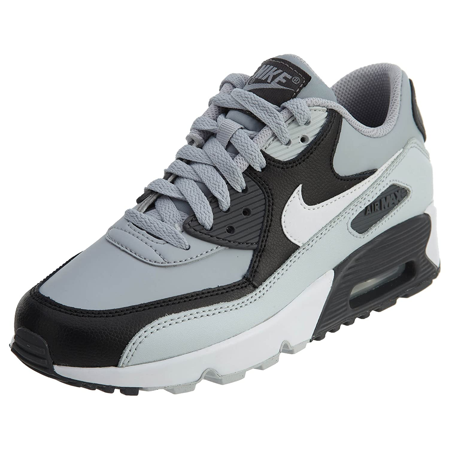 NIKE Kids Air Max 90 LTR (GS) Running Shoe B0059YIF36 6 M US|Wolf Grey/White-Pure Platinum-Black
