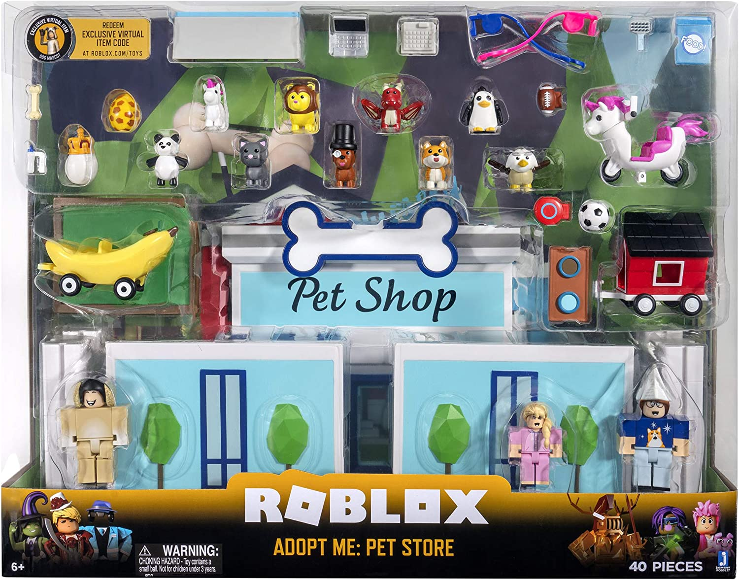 Roblox Adopt A Kid Game Amazon Com Roblox Celebrity Collection Adopt Me Pet Store Deluxe Playset Includes Exclusive Virtual Item Toys Games