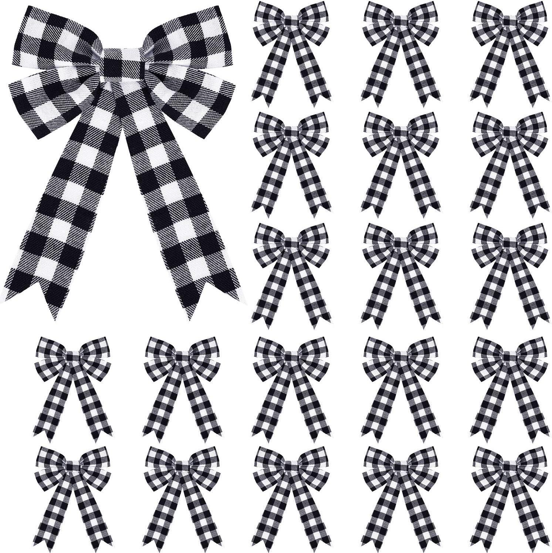 20 Pieces Christmas Plaid Bows Buffalo Check Bows Holiday Decorative Bows for Xmas Tree Home Decor, 5 x 7 Inch (Black-White)