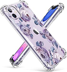 GVIEWIN iPhone 11 Case, Clear Flower Design Soft & Flexible TPU Ultra-Thin Shockproof Transparent Bumper Protective Floral Cover Case for iPhone 11 6.1 Inch 2019 (Peony/Purple)