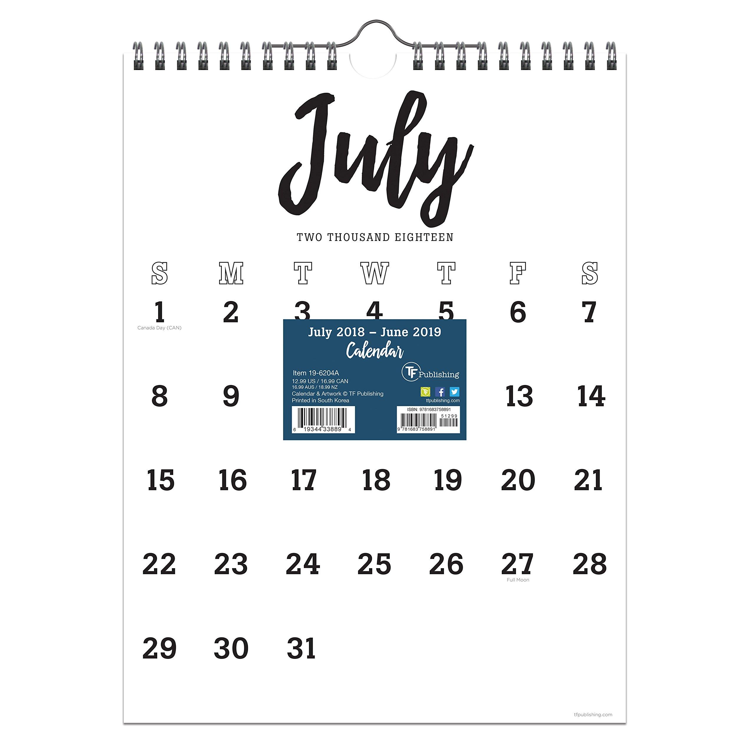TF Publishing 19-6204A July 2018 - June 2019 Black & White Script Monthly Wall Calendar, 9 x 12'', Black & White