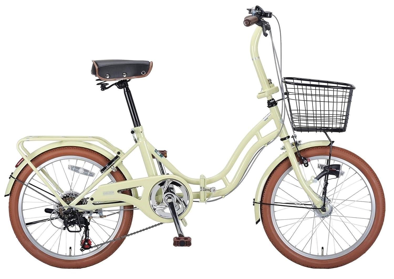 キャプテンスタッグ(CAPTAIN STAG) バレイ 20インチ 折りたたみ自転車 FDB206 [ シマノ6段変速 / LEDオートライト / サークル錠 / リアキャリア / 前後泥よけ / BAA ]標準装備 B00I8HXPLIアイボリー