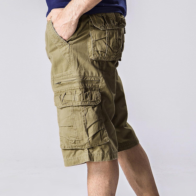 WSLCN Pantaloncini Cargo da Uomo Senza Cintura in Cotone Stile Militare