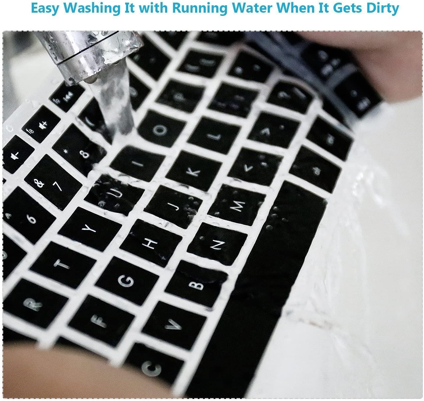 Saco Chiclet Keyboard Skin for HP 15-AB032TX 15.6-inch Laptop Black//Clear