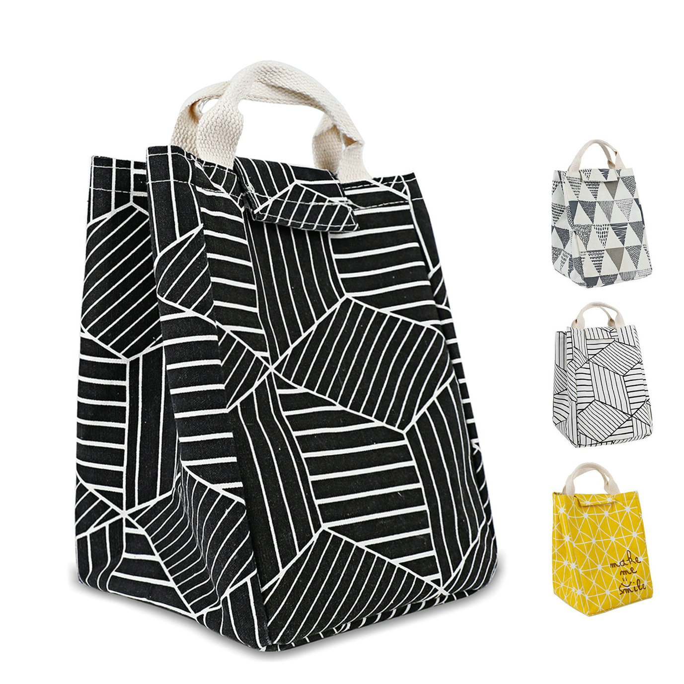 HOMESPON Reusable Lunch Bags Printed Canvas Fabric with Insulated Waterproof Aluminum Foil, Lunch Box for Women, Kids, Students (Geometric Pattern-Black)