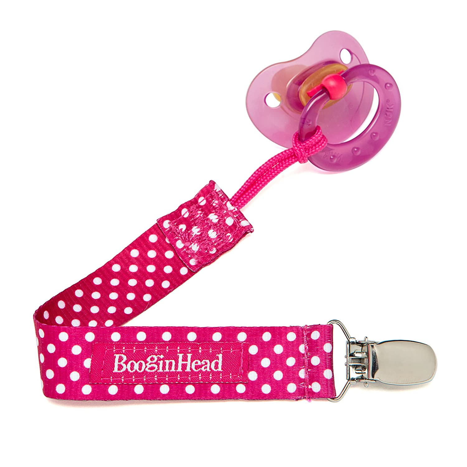 BooginHead PaciGrip in Pink Polka Dot BG - PPD