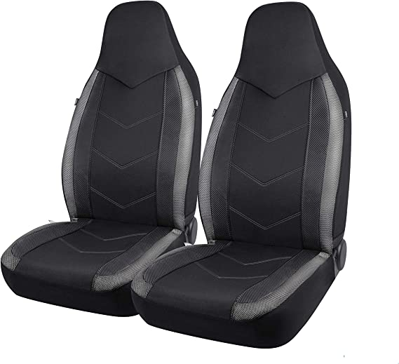 PIC AUTO High Back Car Seat Covers - Sports Carbon Fiber Mesh Design