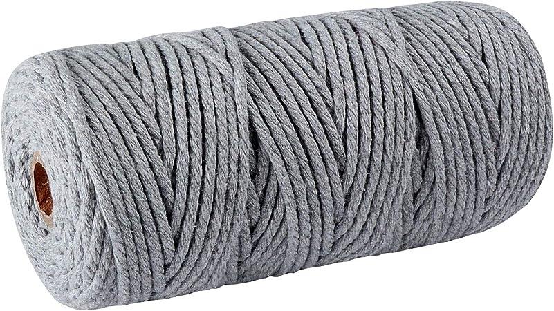 SUNTQ Cordón de macramé Algodón de poliéster trenzado de 4 hilos 3mm x 100m Cuerda de algodón suave para colgar plantas artesanales Colgar artesanías, decoración de tejer, hilo de algodón Gris claro: