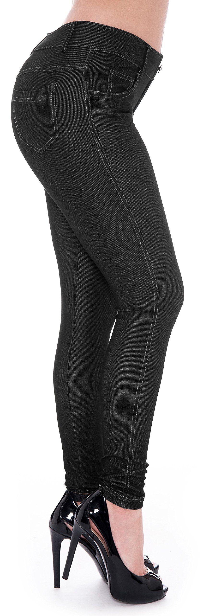 Unique Styles Women's Basic Jeggings Leggings Stretchy 5 Pockets Pants Regular Plus Sizes (Small, Black Solid)