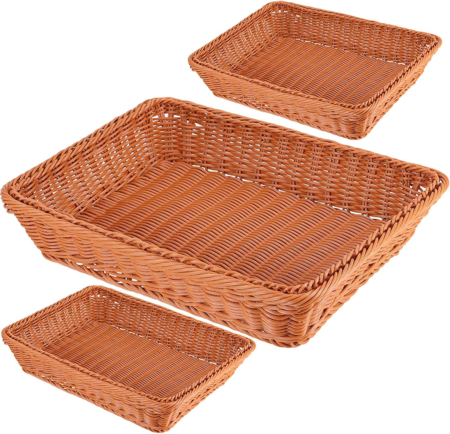3 Packs 12 Inch Poly Wicker Bread Baskets, HAKZEON Wicker Woven Basket Fruit Vegetable Basket Food Serving Storage Tabletop Display for Home Kitchen Restaurant
