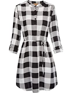 917993e164 Kate Kasin Women Roll Up Sleeve Casual Tunic Mini Plaid T Shirt Dresses  KKAF1057