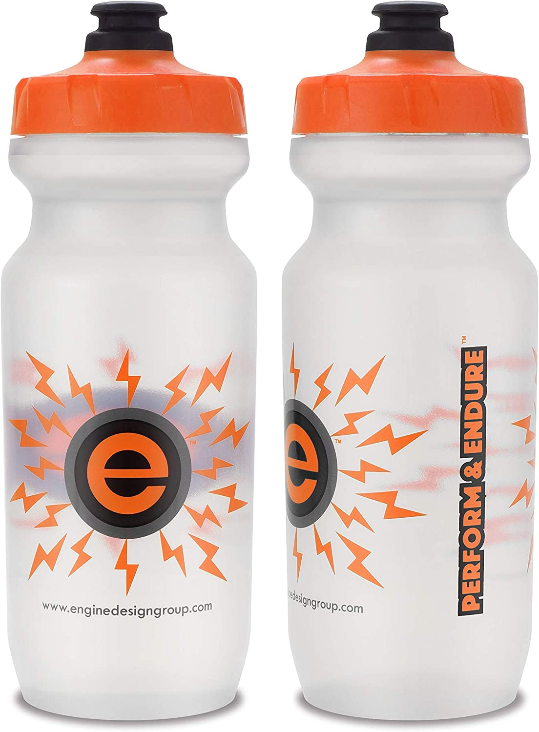 NGN Sport - High Performance Bicycle | Bike Water Bottle for Triathlon, MTB, and Road Cycling - 21 oz (2-Pack) (Clear/ Orange (2-Pack))