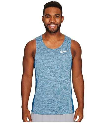 543641eff4f87 Amazon.com  NIKE Men s Dri-Fit Breathe Miler Running Tank Top-Blue ...