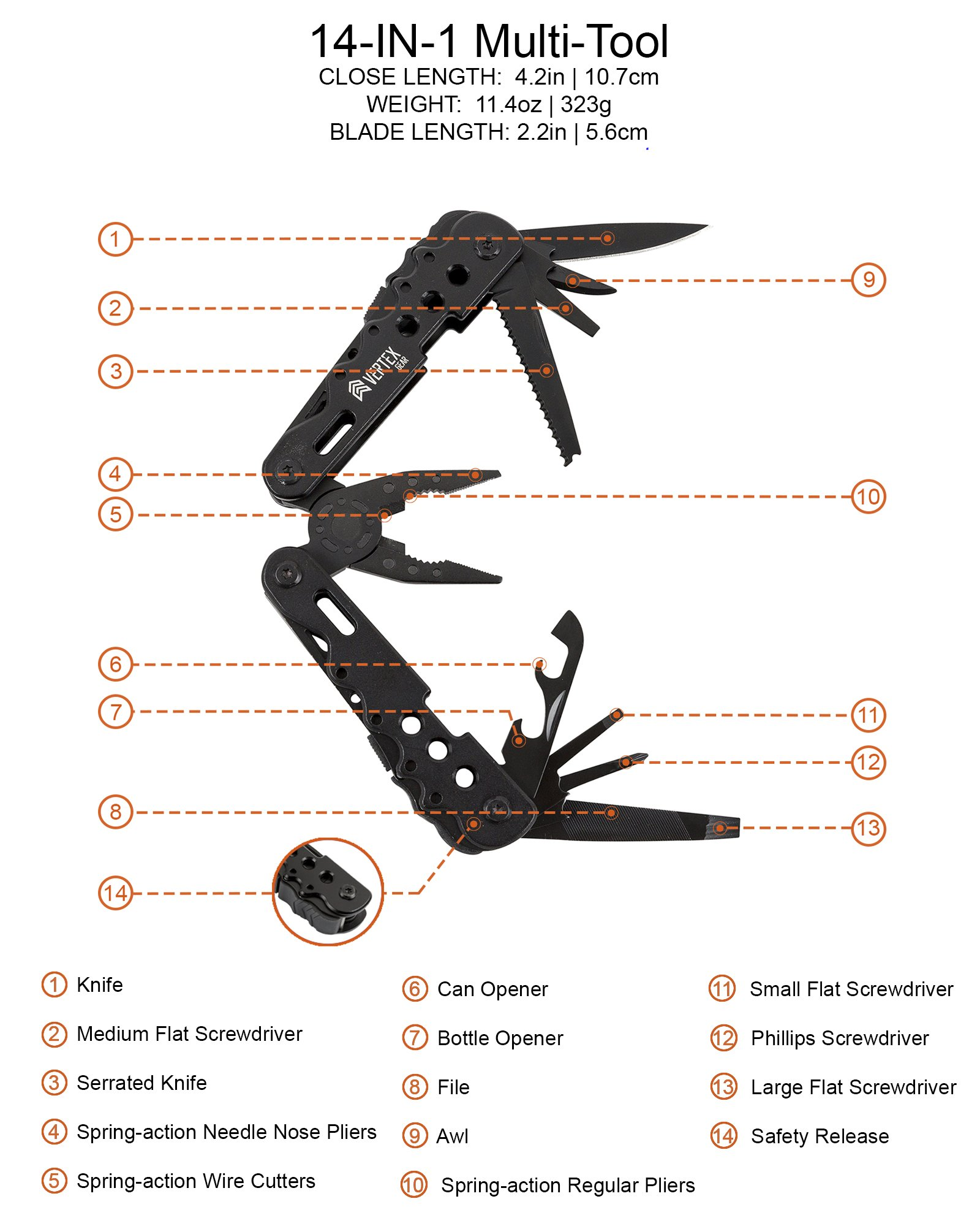 Vertex Gear 14-in-1 MULTITOOL with SAFETY LOCK and FREE multi tool POUCH. Multipurpose tool with heavy duty SPRING LOADED pliers, top grade HARDENED STAINLESS STEEL and BLACK OXIDE finish by Vertex Gear (Image #2)