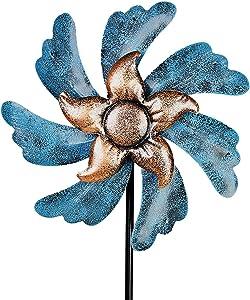 VEWOGARDEN Wind Spinner Yard Art Decorations, Lawn & Garden Decor Outdoor Metal Wind Sculpture for Patio Blue