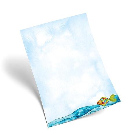 25 hojas de papel azul türkises Carta Regenbogenfisch peces en Océano Mar aspecto, 100 g