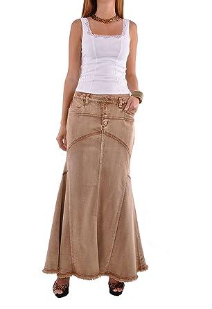 Style J Brown Beauty Falda Vaquera Larga: Amazon.es: Ropa y accesorios