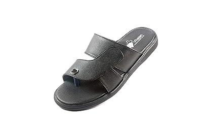 56276c6b7 VHAAN Men's Stylish Black PU Synthetic Diabetic Health & Orthopedic Care  Reducing Heel Pain (Dr. Chappal) Footwear/Flip Flop/Sandal PU Sole MCP  Insole ...