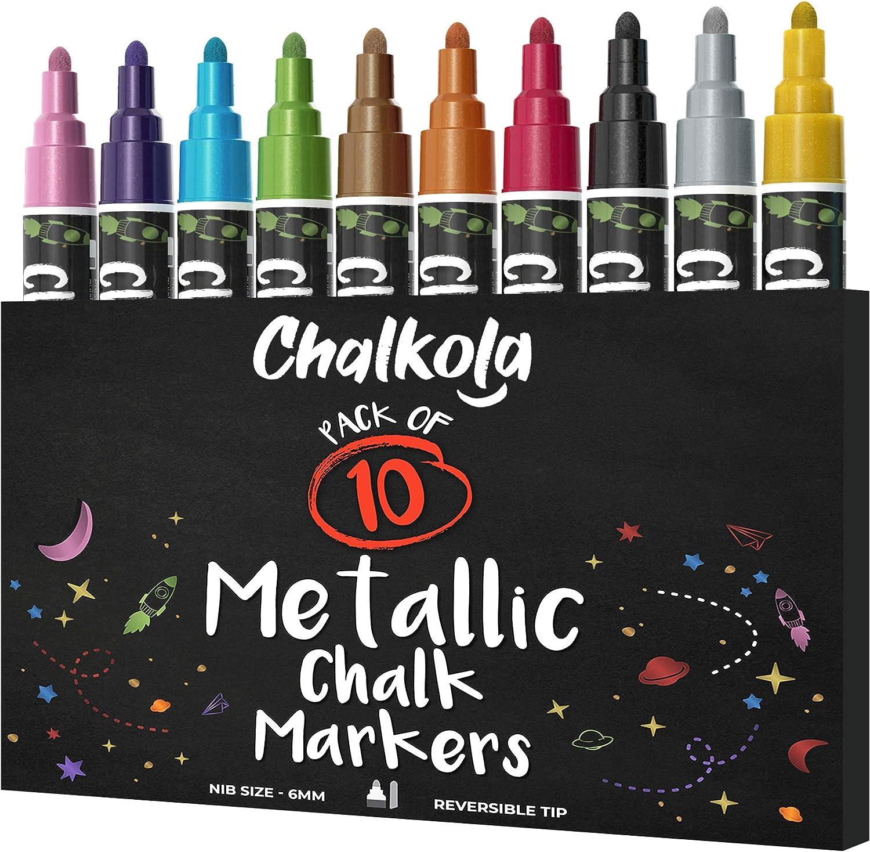 Metallic Chalk Markers - Pack of 10 Liquid Chalk Pens - For Chalkboard, Blackboard, Cafe Menu, Business, Window - Wet Wipe Erasable - 6mm Reversible bullet & chisel Tip