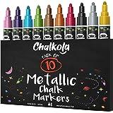 Metallic Chalk Markers (10 Pack) Liquid Chalk Pens - for Blackboards, Chalkboard, Bistro Menu, Window - Wet Wipe Erasable - 6mm Reversible Bullet & Chisel Tip