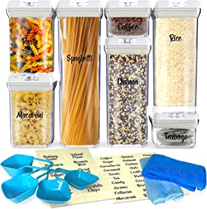 Neatrix Airtight Food Storage Containers with Lids - 7 PC Clear Multi Sized Pantry Organization and Storage Air Tight Sealable Containers, BPA Free Stackable Kitchen Canister Set