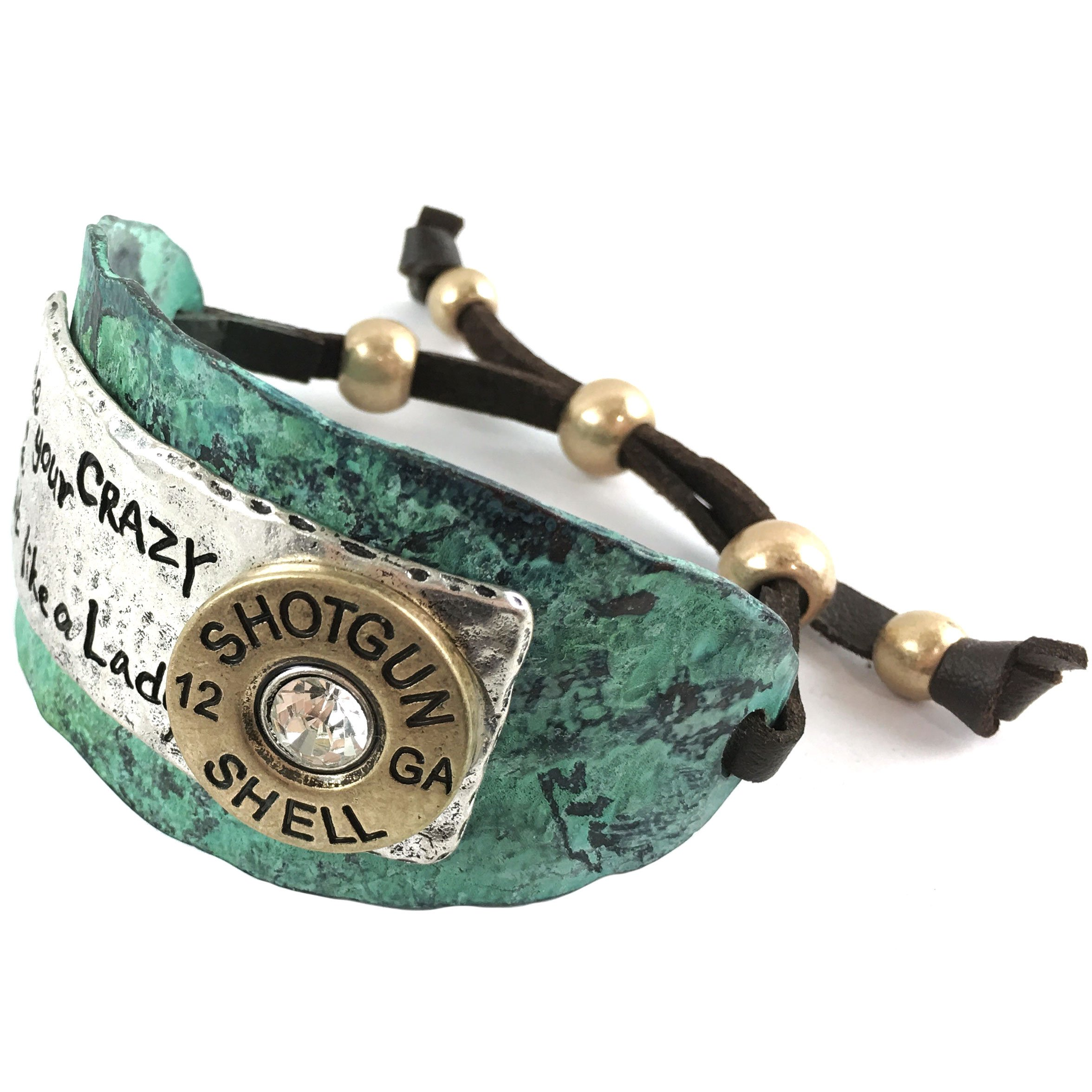 Western Peak Hammered Plate Hide Your Crazy Act Like a Lady 12 Gauge Shotgun Shell Leather Cuff Bracelet (Patina Blue)